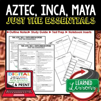 AZTEC, INCA, MAYA Outline Notes JUST THE ESSENTIALS Unit Review, Outline