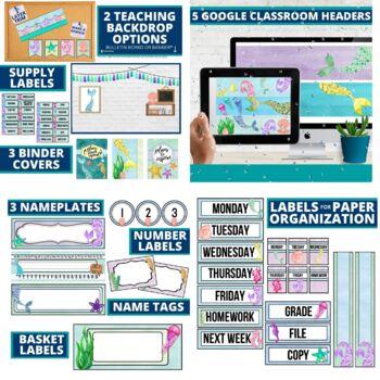 AZURE BLUE & YELLOW Classroom Decor-EDITABLE Clutter-Free Classroom Decor BUNDLE