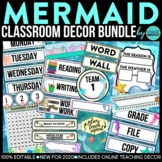 AZURE BLUE AND YELLOW Classroom Decor EDITABLE