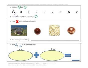 Phonics, Math, & Writing Integration--Aa