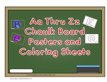 Aa Thru Zz Chaulk Board Poster and Coloring Sheets