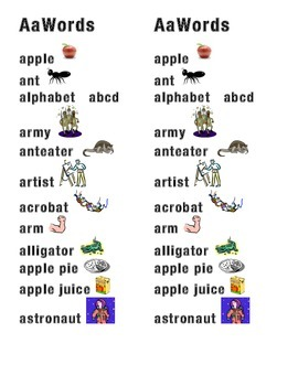 Aa Word Picture Sentence Helpers