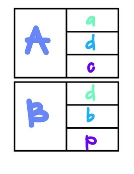 Aa-Zz Uppercase to Lowercase Match Up Clip Cards!