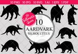 Aardvark Silhouettes Clipart Clip Art(AI, EPS, SVGs, JPGs,
