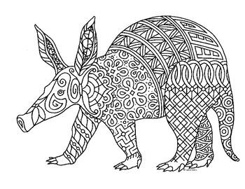 Aardvark Zentangle Coloring Page