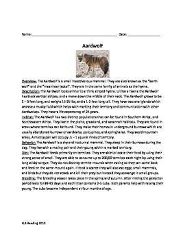 Aardwolf Review Article Questions and Vocabulary PDF format