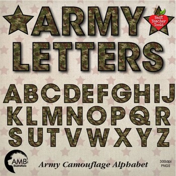 Army Camouflage, Camo Alphabet Clipart, July 4th, {Best Teacher Tools} AMB-1955