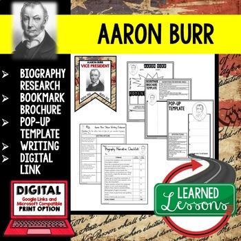 Aaron Burr Biography Research, Bookmark Brochure, Pop-Up, Writing, Google
