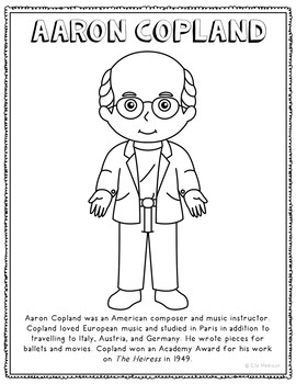 aaron copland famous composer informational text coloring page craft