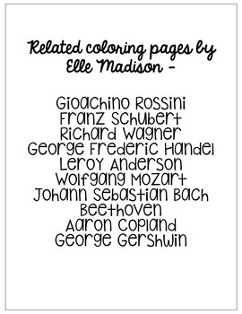 Aaron Copland, Famous Composer Informational Text Coloring Page Craft