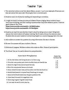 Story and Questions Grades 4 - 6