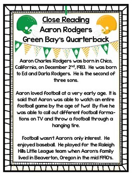 Aaron Rodgers:  The Green Bay Packers QB - A Close Reading Touchdown!