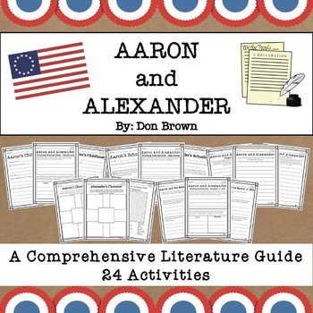 #HelloSummer Aaron and Alexander by Don Brown Literacy Pack - Hamilton for Kids