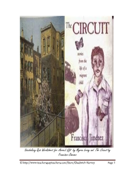 Aaron's Gift and The Circuit Vocabulary Quiz Worksheet