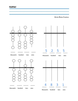 Abacus Practice Worksheet up to 1000 place value #2