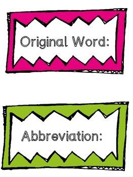 Abbreviation Anchor Chart + Matching Game File Folder