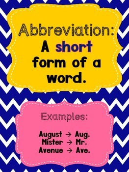 abbreviation anchor chart matching game file folder tpt