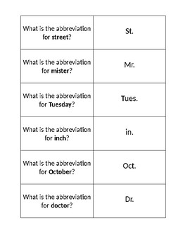 Abbreviation Cards by Ashley Reser | Teachers Pay Teachers