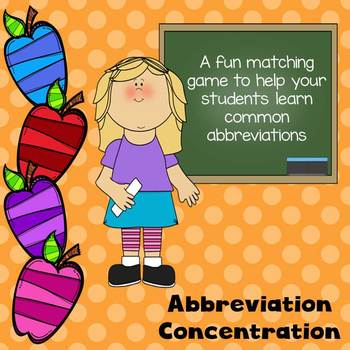 Abbreviation Concentration Matching Cards