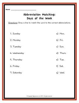 Abbreviation Matching Activities