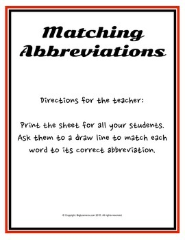 Abbreviation Matching Activities