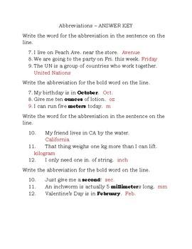 Abbreviation Quiz  Journey's Grammar Lesson 20
