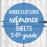 Abbreviation Reference Sheets