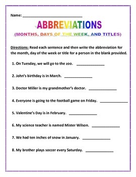 Abbreviation Sentences 3 Pages 8 Sentences Each Tpt