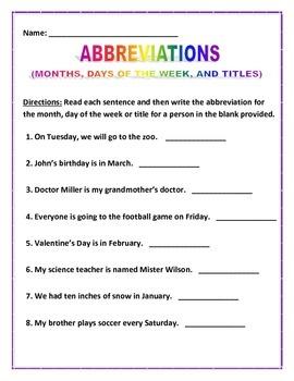 Abbreviation Sentences - 3 pages 8 sentences each.