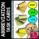 Abbreviation Task Cards - Special Education - Writing - Reading - Centers