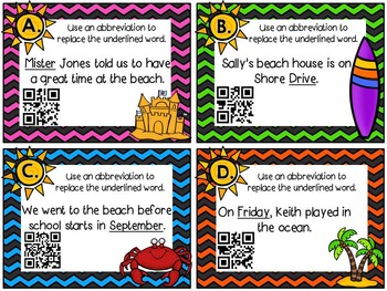 Abbreviation Task Cards- with a QR code version!