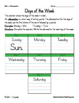 Abbreviation Worksheet