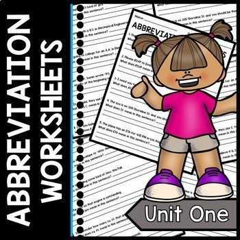Abbreviation Worksheets - Sentence Practice - Special Education - Writing