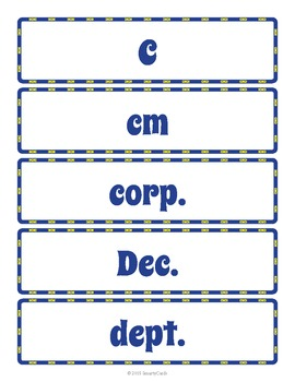 Common Abbreviations Word Wall and Glossary