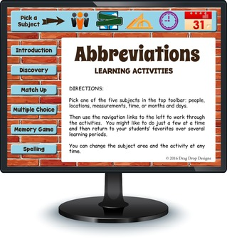 Smartboard Abbreviations Activities and Games