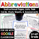 Abbreviations Distance Learning Activities: Rules, Task Cards, Worksheets & MORE