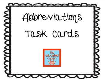 Abbreviations- 24 task cards