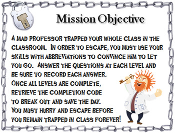 Abbreviations Activity: Escape Room Grammar