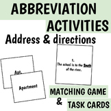 Abbreviations Address and Directions Task Cards & Matching Game w/ answer sheet!