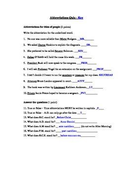 Abbreviations Assessment (Quiz)