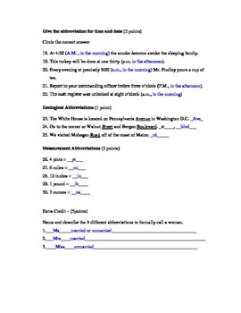 Abbreviations Assessment (Quiz)