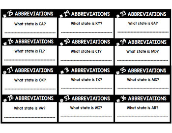 Abbreviations Bundle - Task Cards - Special Education - Writing - Reading