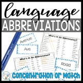 Abbreviations - Concentration/Centers/Whole Group Match
