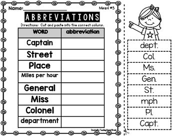Abbreviations | Abbreviations Worksheets Cut and Paste | Abbreviations 2nd Grade