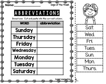 Abbreviations worksheets second grade