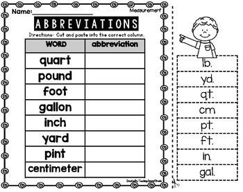 Abbreviations 2nd Grade