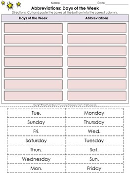 Abbreviations: Days of the Week Cut and Paste Activity - King Virtue