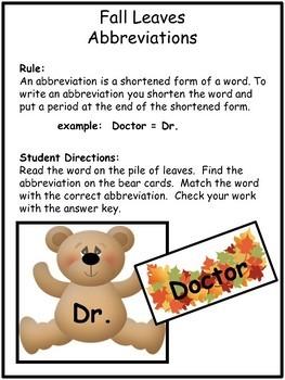 Abbreviations-Fall Leaves