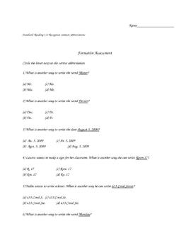 Abbreviations Formative Assessment
