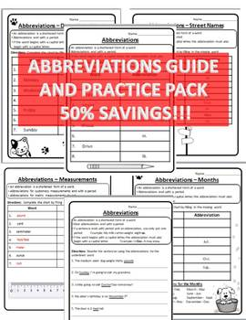 Abbreviations Guide/Practice Pack Abbreviation Practice Abbreviation Worksheets